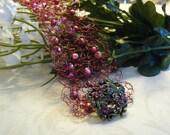 Wire Cuff, Handmade Cuff, Red Cuff, Valentine Bracelet, Gift Ideas, Valentine Gifts, Crocheted Bracelet, Crocheted Cuff, A Gift For Her