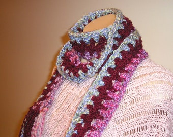 Funky Crocheted Tri-Colored Scarf