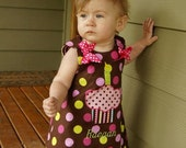 BirthdayDress With Cupcake Applique Personalized Reversible A Line by Groovy Gurlz Sizes 6m,12m, 18m, 2t, 3t, 4t, 5y, 6y