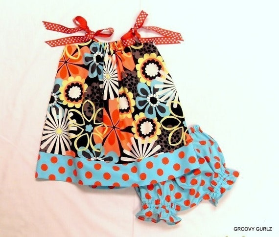 NEW GROOVY GURLZ FAR OUT FLOWER PILLOWCASE DRESS AND BLOOMERS SIZES 3M, 6M, 9M, 12M, 18M, 24M, 2T, 3T, 4T