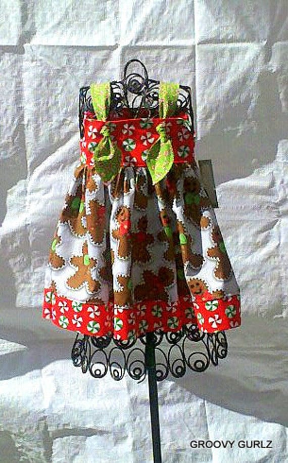 Christmas Knot Dress Gingerbread Candy Cane Peppermint by Groovy Gurlz Sizes 6-12m, 12-18m, 18-24m, 2t, 3t,