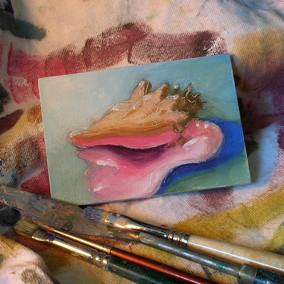 Queen Pink Conch ACEO ATC original mini oil painting