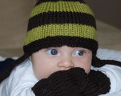 Lime Green. Brown Striped Earflap Baby Hat
