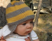 Gray. Yellow Striped Earflap Baby Hat