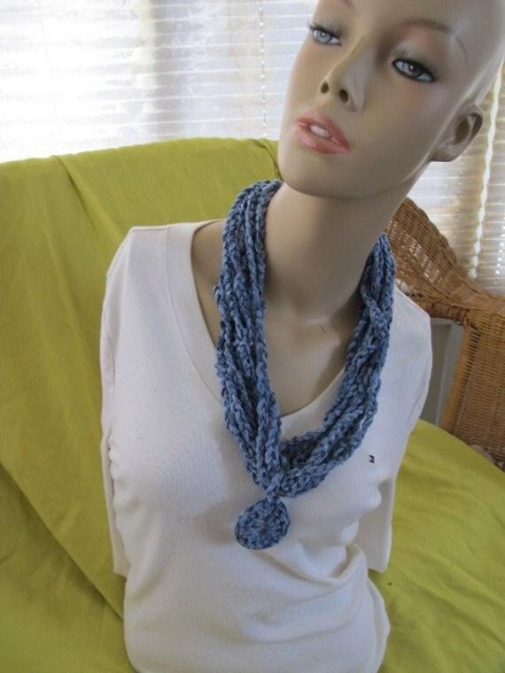 SALE - Denim Blue Chenille Circle Drop Chain Link Cowl (820)