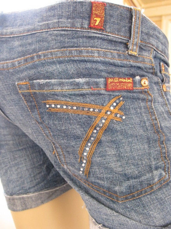 SALE - Upcycled 7 For All Mankind Jean Shorts - 25 (429)