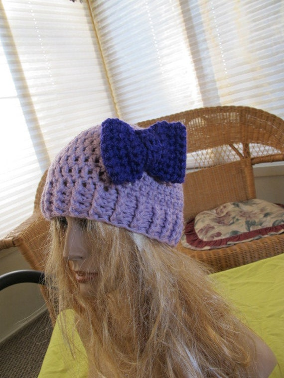 SALE - Lilac Bow Accent Chunky Beanie (86)
