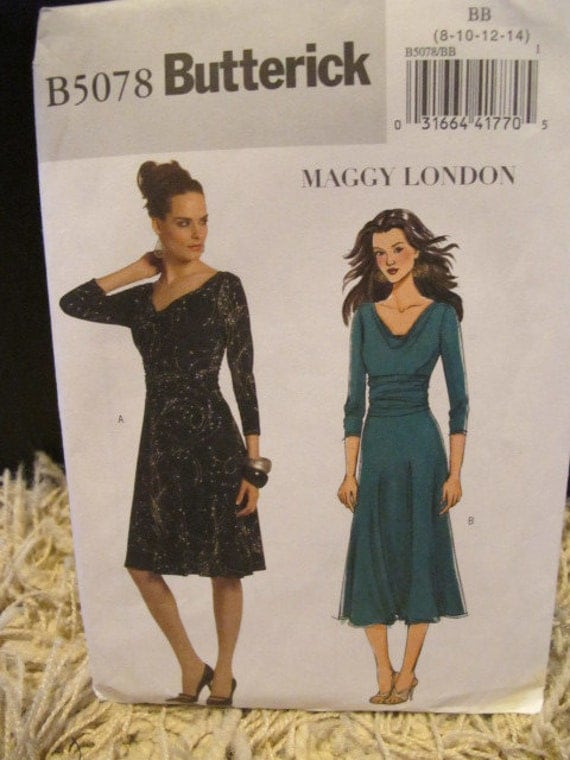 2007 Uncut Butterick Pattern B5078 - Maggy London Easy Dresses - Size BB