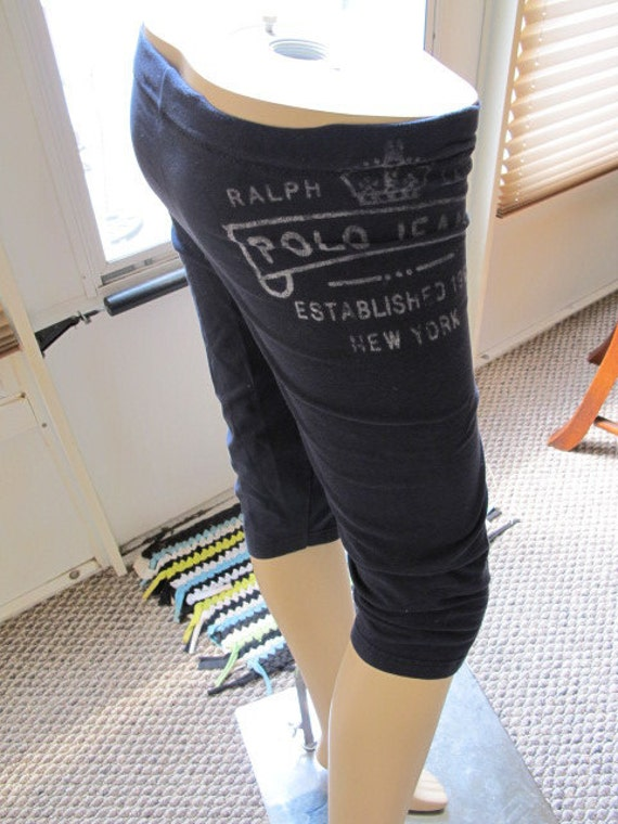SALE - Upcycled Ralph Lauren Polo Tshirt Capri Leggings - Small (1399)