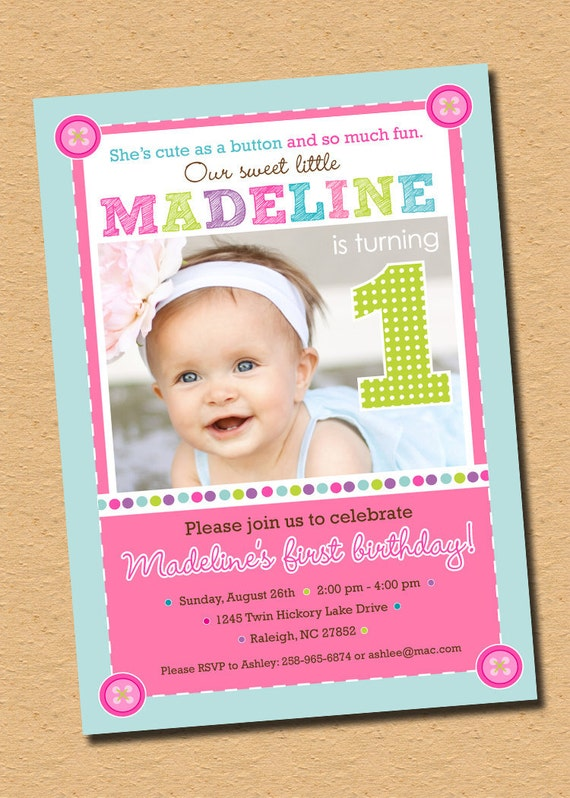 Cute As A Button - First Birthday Party Invitation