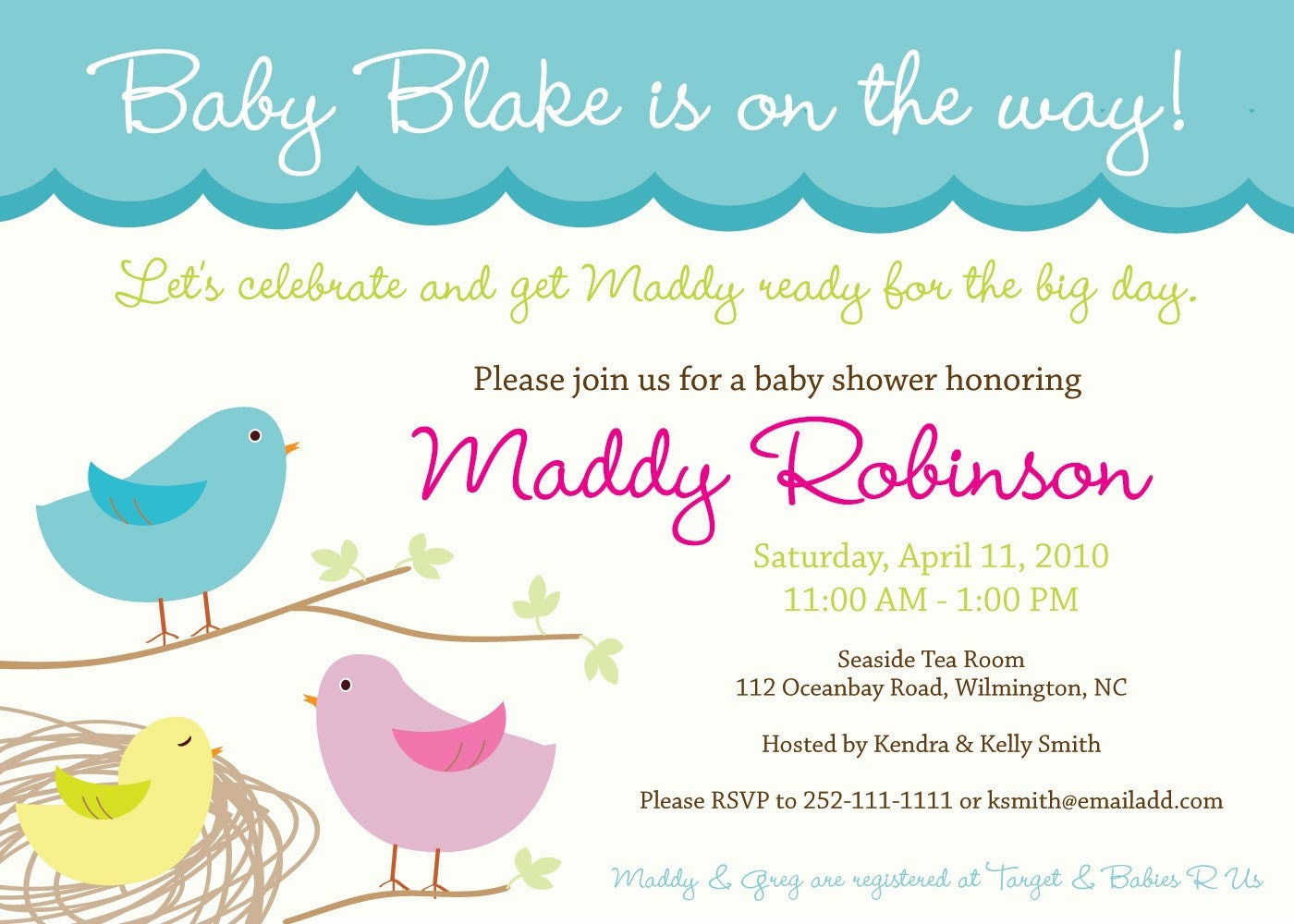 sweet tweet baby nesting bird theme baby shower by inkberrycards, Baby shower invitations