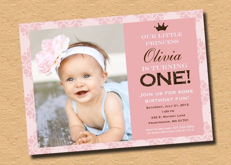 Little Princess Pink Brown Sparkle First Birthday Party