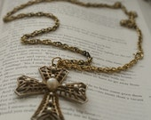 brass and pearl cross chain necklace - vintage