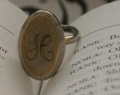 h monogram letter silver ring - vintage