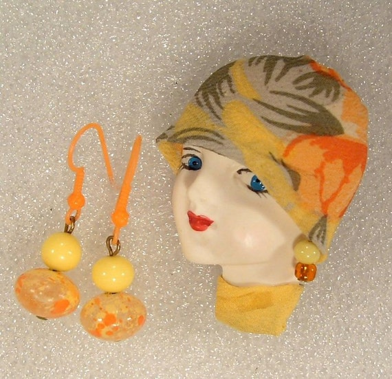 Camissa - Lady Face Pin Brooch Woman Head Porcelain-Look Resin Flapper Girl AND Earrings