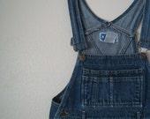 1980s denim overall mini dress S -