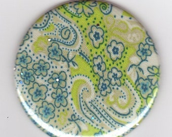 Turquoise blue green paisley floral silk fabric  sparkle pocket mirror
