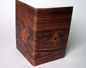 Leather Card Case with Wood Grain Pattern - Use for Business Cards, Thin Wallet, Credit Cards etc.