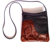 Black Leather Purse Handbag with Ginkgo Leaf Accent - Cross Body Style