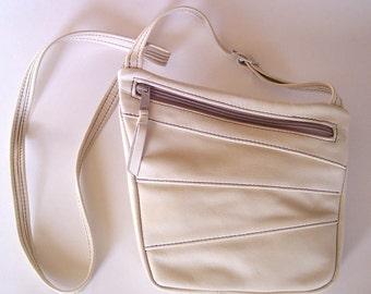 Cream Color Leather Purse - Art Deco Cross Body - Medium Size - Off-White/Cream Color Leather Handbag