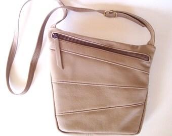 Taupe Leather Purse - Art Deco Style Cross Body Handbag - Large Size