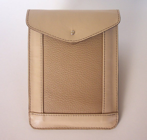 Kindle Fire or Kindle 3 Leather Case Sleeve - Beige with Textured Leather Inlay