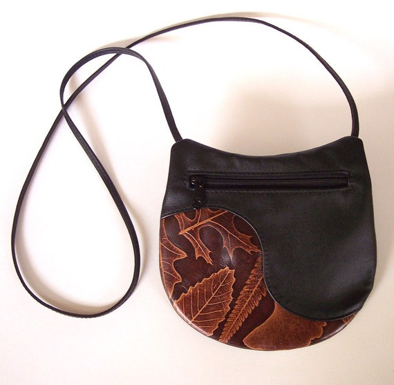 Small Round Leather Handbag with Leaf Design (Ginkgo, Oak, Loquat and Fern)