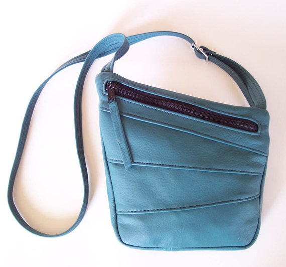 Teal Leather Purse Handbag - Art Deco Cross Body - Medium