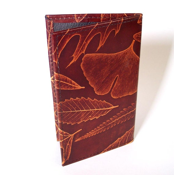 Leather Checkbook Cover Holder with Leaf Design (oak, fern, maple and ginkgo)