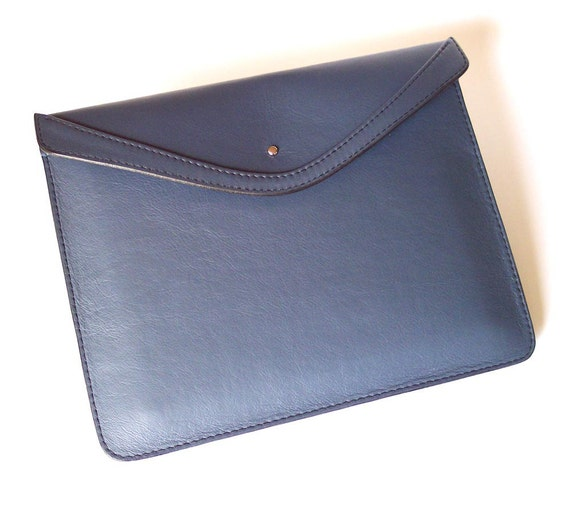 Leather iPad Case for Models 3 or 2  - Medium Blue Leather Sleeve