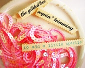 Bubble Gum Pink iridescent Sequin trim -6 yards - for gift wrapping, applique, sewing, scrapbooking, decorating, weddings, holiday
