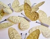 Butter yellow/ Pewter Vintage style art nouveau Butterflies