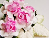 Bon Bon Pink centered White English Garden Roses with Moss/ Cream ombre leaves Vintage style bunch Millinery Flower Bouquet - 5 FL - 3 L