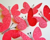 Coral red/ Pewter Vintage style art nouveau Butterflies - wedding, wrap, craft, supply, holiday, handmade, whimsical, party, decor