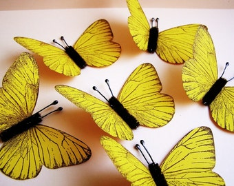 Lemon yellow/ Chocolate Vintage style classic Butterflies - for decorating, gift wrapping, scrapbooking, weddings, embellishment