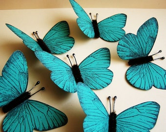 Turquoise/ Chocolate Vintage style classic Butterflies - for decorating, gift wrapping, altered art, weddings, embellishment, holiday