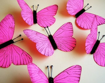 Bright Pink/ Chocolate Vintage style classic Butterflies - for decorating, gift wrapping, weddings, embellishment, holiday