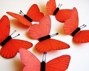 Mandarin Orange/ Chocolate Vintage style classic Butterflies - for decorating, gift wrapping, scrapbooking, weddings, embellishment
