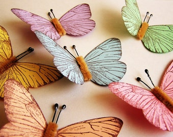 Pastel Sampler/ Chocolate Vintage style classic Butterflies - for decorating, gift wrapping, weddings, embellishment, holiday