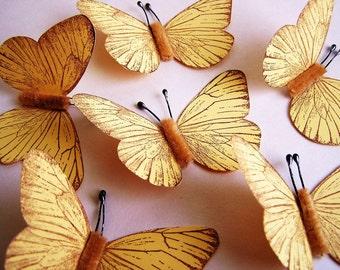 Pastel Yellow/ Chocolate Vintage style classic Butterflies