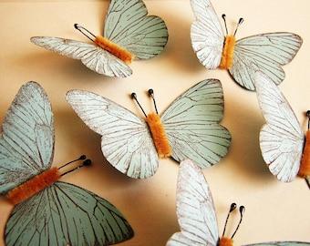 Pastel Blue/ Chocolate Vintage style classic Butterflies