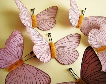 Lilac/ Chocolate Vintage style classic Butterflies - for decorating, gift wrapping, weddings, embellishment, holiday