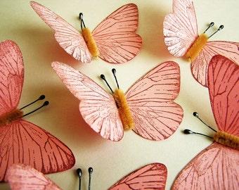 Bubble Gum Pink/ Chocolate Vintage style classic Butterflies