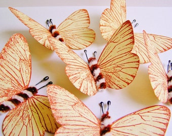 Caramel Creme/ Foxy brown and cream Twist Vintage style classic Butterflies