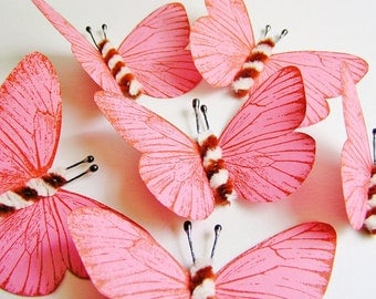 Strawberry Pink Foxy brown and cream Twist Vintage style classic Butterflies