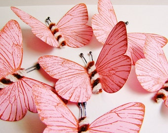 Bubble Gum Pink/ Foxy brown and cream Twist Vintage style classic Butterflies