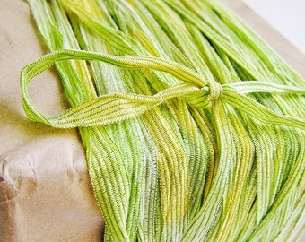 Lime zest and Buttercream Pinstripe Ribbon striped tee trim lovely embellishment wedding wrap craft supply - 5 yards