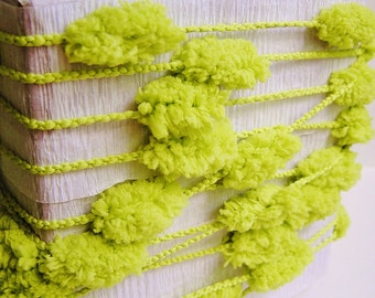 Chartreuse green lush Pom Pom Garland/ Trim - luxe party ribbon garland wedding embellishment craft decor supply - 3 yards