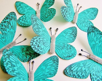 Turquoise/ Pewter Vintage style art nouveau Butterflies - wedding, wrap, craft, supply, holiday, gift, handmade, whimsical, party, decor
