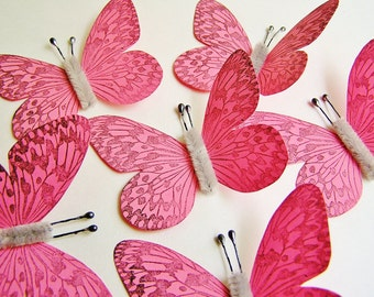 Strawberry Pink/ Pewter Vintage style art nouveau Butterflies - wedding, wrap, craft, supply, holiday, handmade, whimsical, party, decor